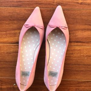 Arturo Chiang pink suede w/ leather trim &bow